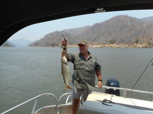 Mike and a fish on the Zambezi
