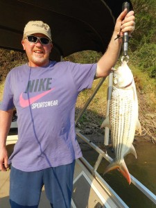 Fishing on Zambezi river for tiger fish and catfish
