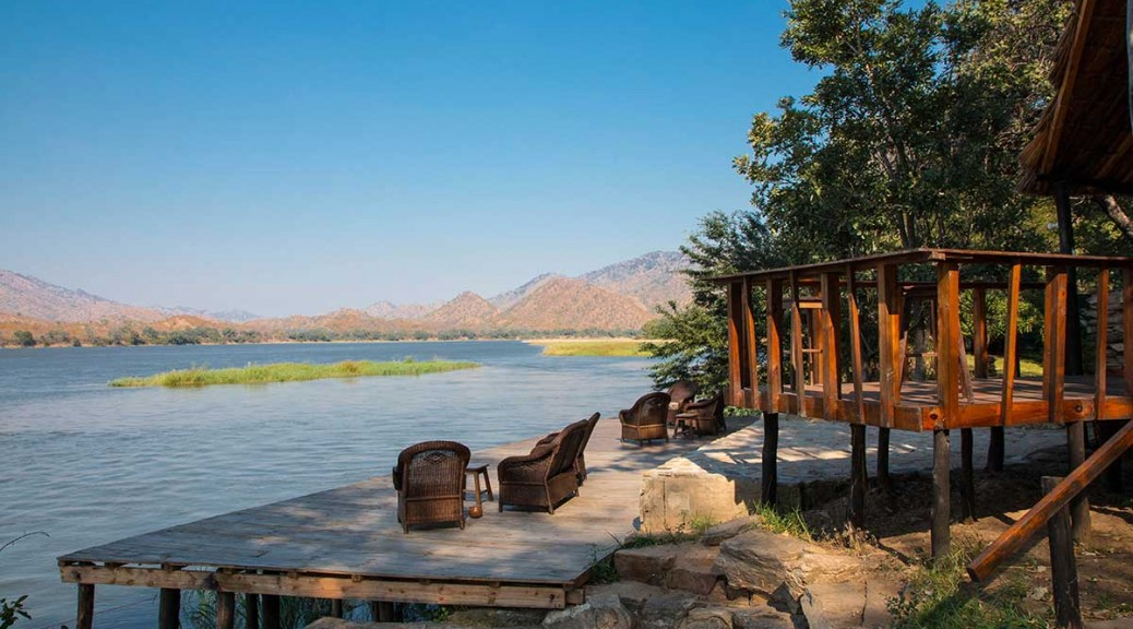 Bar and deck at zambezi fishing lodge